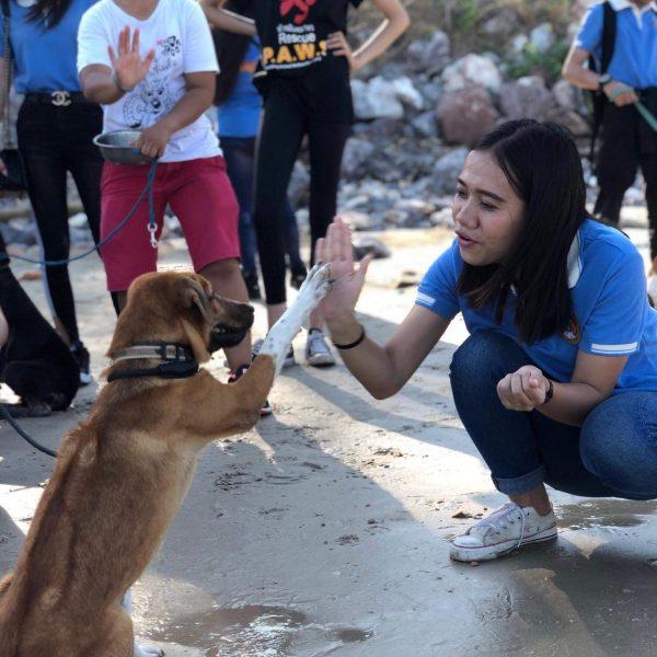 Thai students on visit